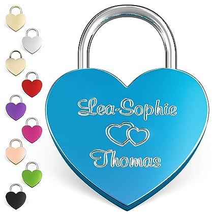 LIEBESSCHLOSS-FACTORY Candado de amor Azul grabado en forma de corazón. Caja de regalo gratis y mucho mas.Diseña tu castillo ahora grabado!
