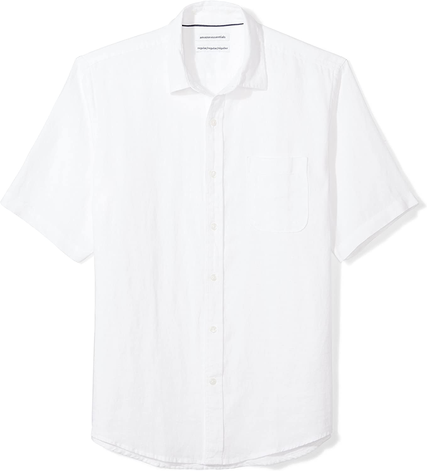 Amazon Essentials Men's Regular-Fit Short-Sleeve Linen Shirt