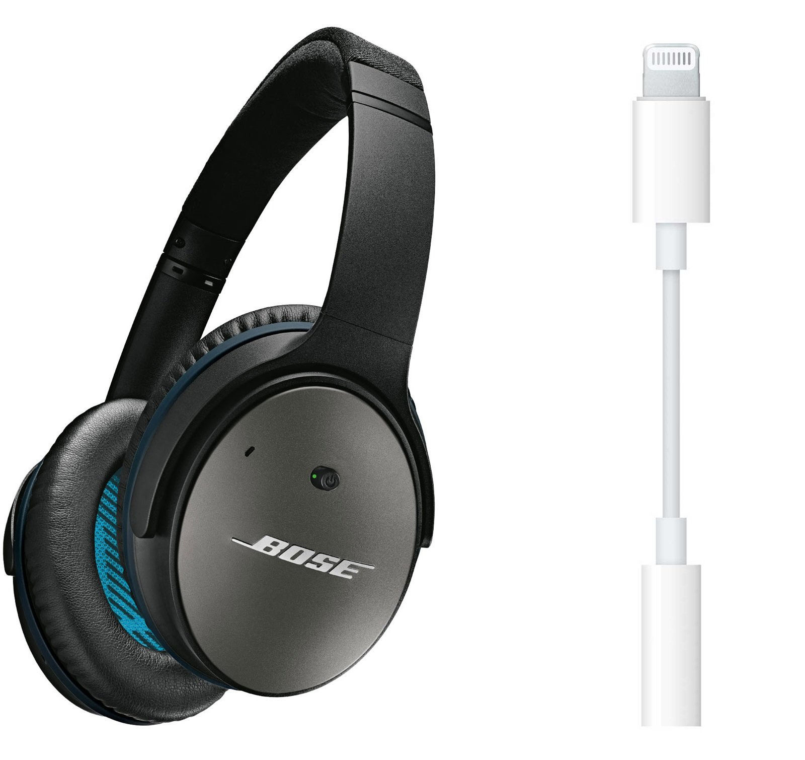 Bose QuietComfort 25 (3.5mm) Wired Over Ear Noise Cancelling Headphones for Apple Devices, Black Bundle with Lightning to 3.5mm Adapter