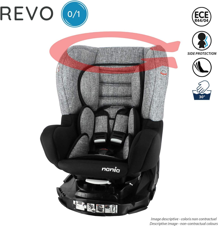 0-18kg avec protection lat/érale Si/ège auto pivotant REVO 360/° groupe 0+//1 Nania Silver