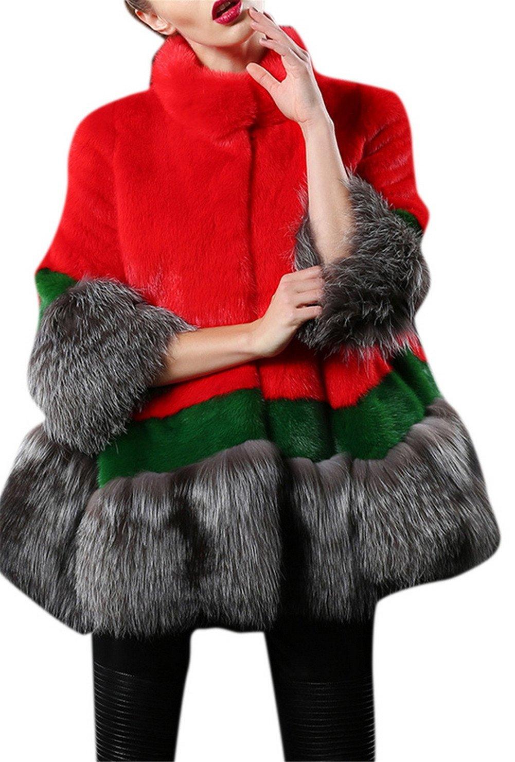 Women's Stylish Fluffy Luxury Faux Fur Mink 3/4 Sleeve Short Party Coat Red XL by TccTccMallrich