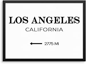 "Los Angeles City Wall Art Print California Distance Miles Travel Poster Sign 11x14 UNFRAMED Minimalist Trendy Fashion Glam Artwork for Bedroom Living Room or Home Office (11""x14"" LOS ANGELES)"