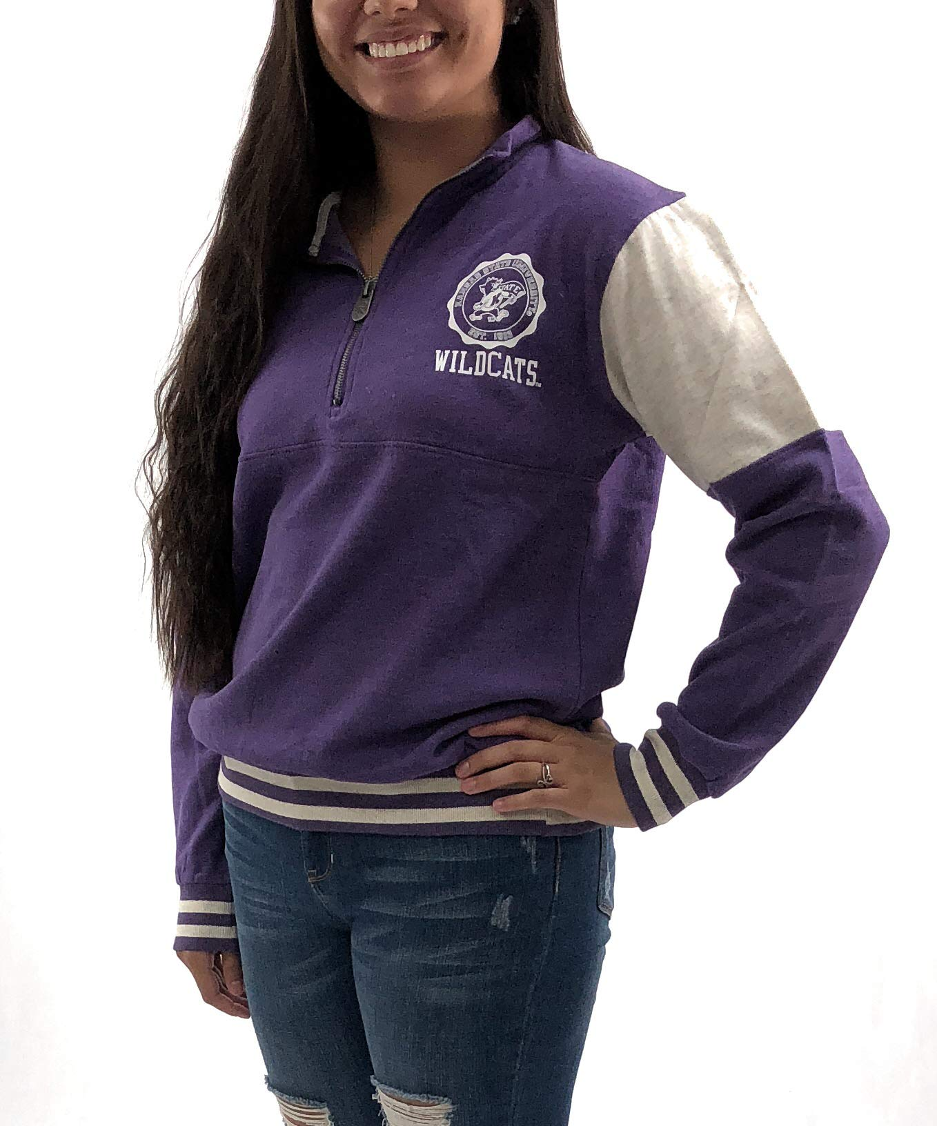 University Kansas State Wildcats Womens 1/4 Zip Jacket; Pullover University Apparel Clothing