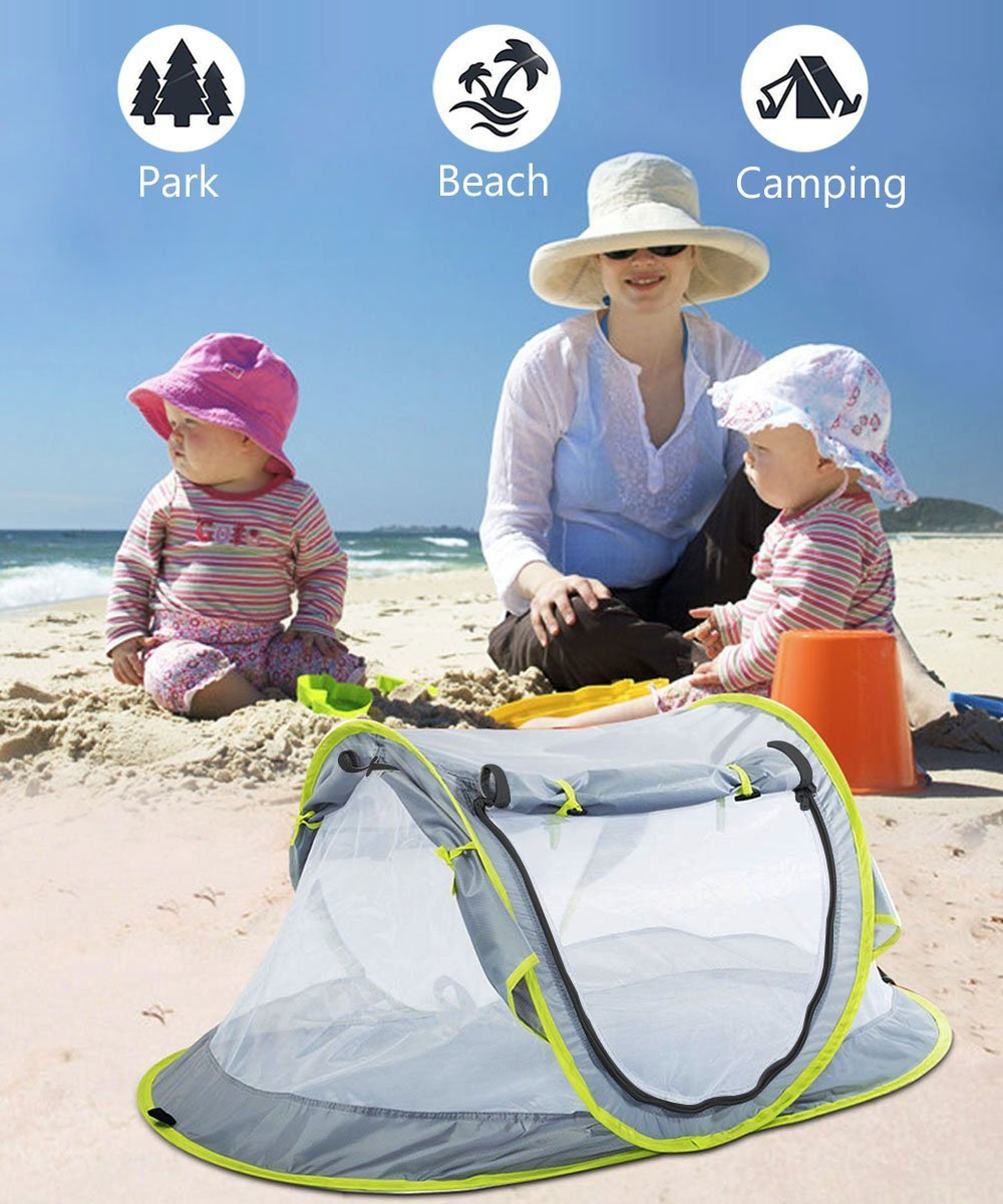 Baby Beach Tent UV Protection UPF 50+ Instant Beach Tent Sun Shelter Pop-up Outdoor Portable Newborn Travel Cribs Bed with Sleeping Pad, Mosquito Net and 2 Pegs Ultralight Weight by Monocho by Monocho (Image #5)
