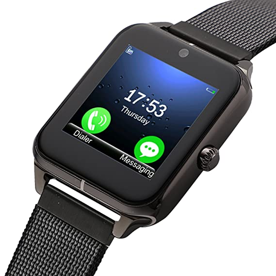 Smartwatch, Collasaro Sweatproof Smart Watch Phone with Camera and SIM Card Slot, Smart Watch for Android Samsung LG Sony HTC Smartphones (Black ...