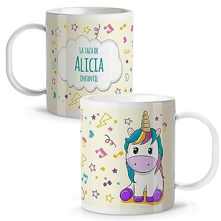 LolaPix Taza Unicornio Infantil niños y niñas Personalizada con ...