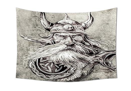 Tatuaje Decor Tapiz Artistico Lápiz Dibujo de un Brave Viking ...