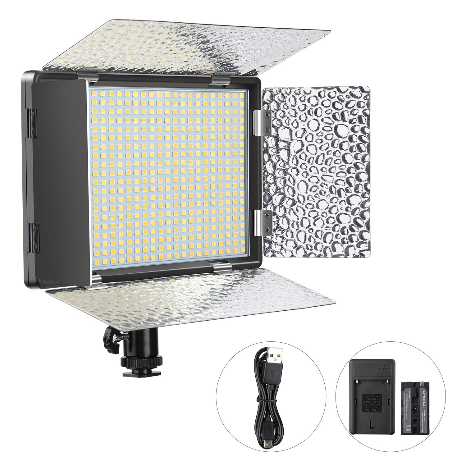 ENEGON Camera Dimmable Video Light Panel (Bi-Color 520 LED Beads) with 4000mAh Rechargeable Battery, Charger,hot Shoe for Canon Panasonic Nikon DSLR Cameras, Camcorder, Tripod, CRI95+, 3200K-5600K by ENEGON