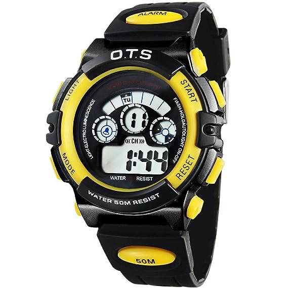 O.T.S Infantil Niños Niñas Reloj Deportivo Digital Resistente al Agua Multifunción Led Al Aire Libre De Pulsera - Negro/Amarillo: Amazon.es: Relojes