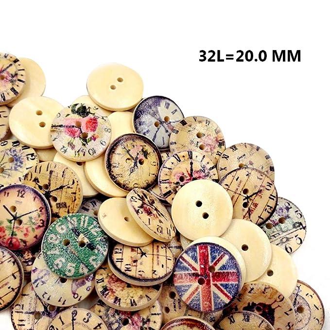 LAAT 100 St/ück 2 L/öcher Rund Holzkn/öpfe Kn/öpfe zum Kn/öpfe f/ür Deko DIY knopf Holz Holz Kn/öpfe selberaufn/ähen//basteln