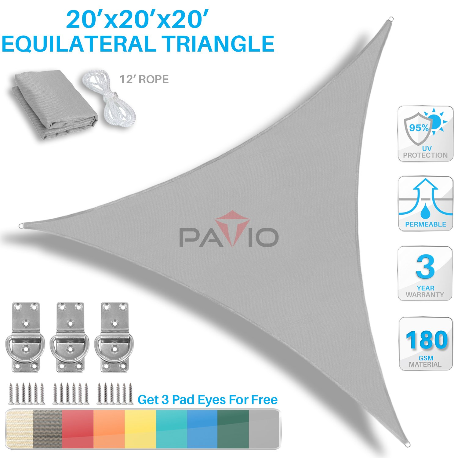 Patio Paradise 20' x 20' x 20' Light Grey Sun Shade Sail Equilateral Triangle Canopy - Permeable UV Block Fabric Durable Outdoor - Customized Available