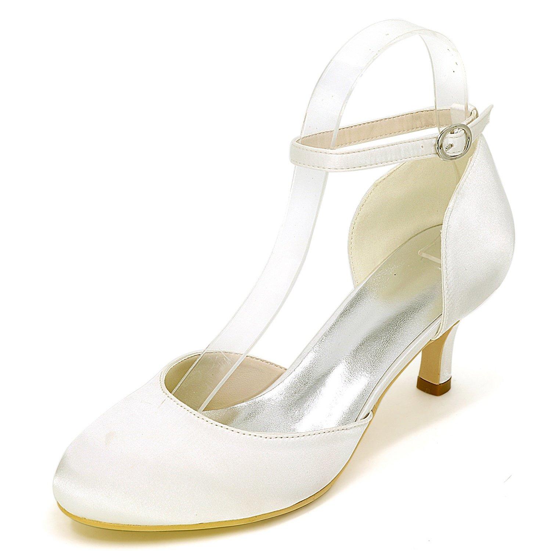 Marfil Eleboeb zapatos De Boda De Las mujeres Nueva plataforma Hebilla Tacones Altos blanco Marfil Noche Gatito   6cm TalóN