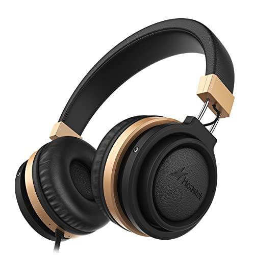 Honstek A5 Stereo On Ear headphones with Mic Volume Control for iPhone 6 Samsung iPad Tablet for Girls Black Gold