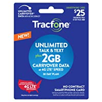 Tracfone $25 Unlimited Talk, Text, 2GB Data - 30 Day Smartphone Plan
