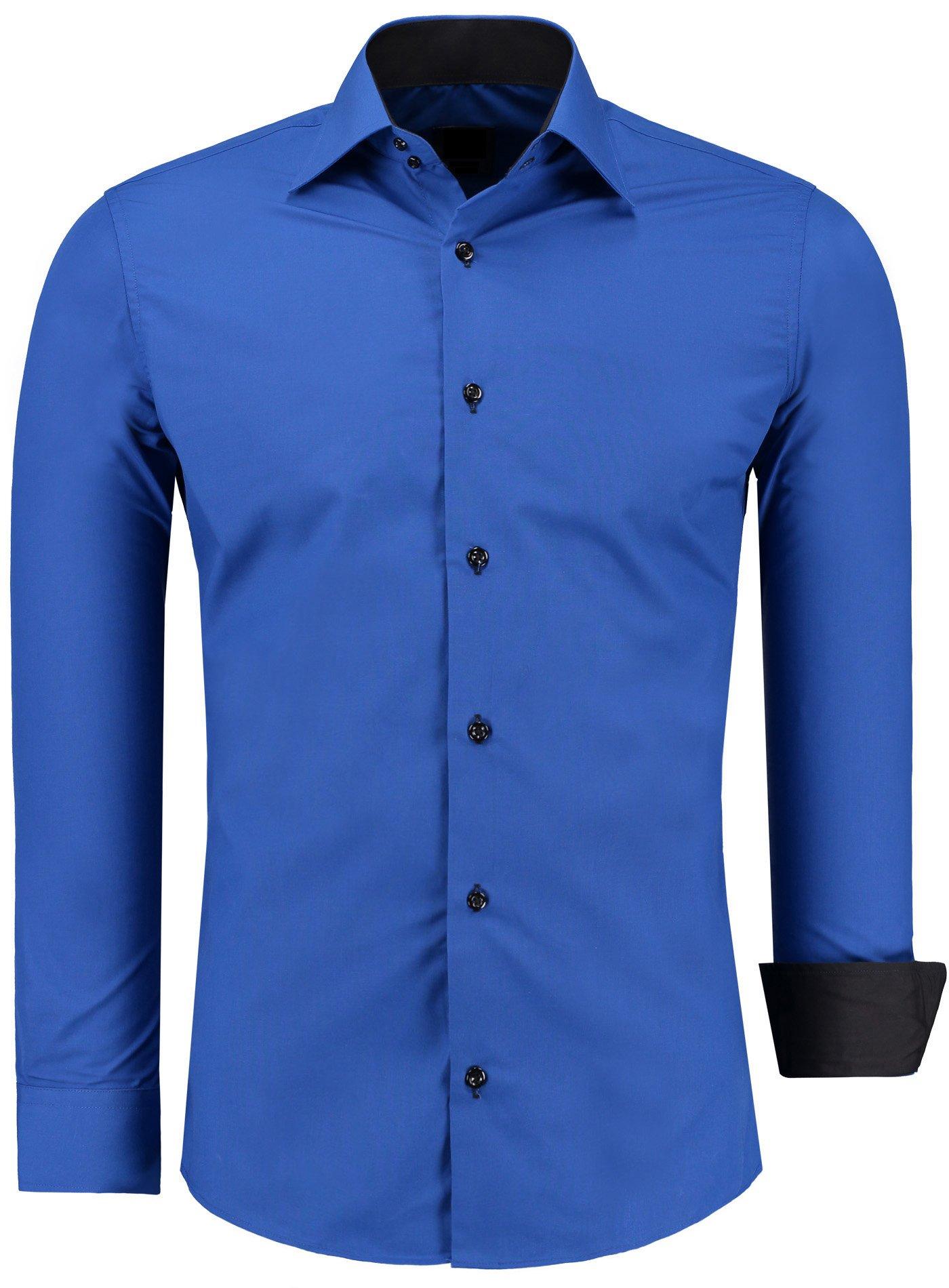 e7d4df384825 J S FASHION Herren-Hemd – Slim-Fit – Bügelleicht – Für Anzug, Business,  Hochzeit, Freizeit – Langarm-Hemd für Männer