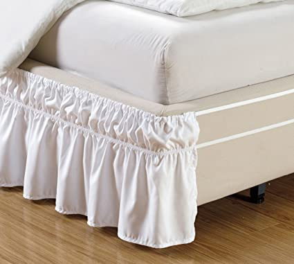 Wrap Around Style WHITE Ruffled Solid Bed Skirt Fits Both QUEEN And KING Size Bedding 100