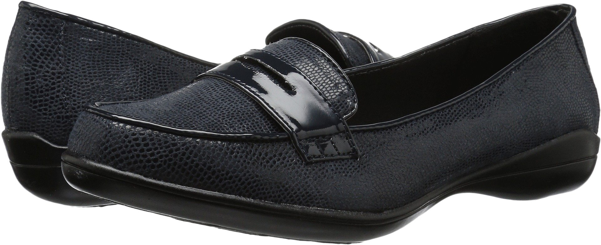 Soft Style by Hush Puppies Women's Daly Penny Loafer, Navy Lizard/Patent, 8.5 W US
