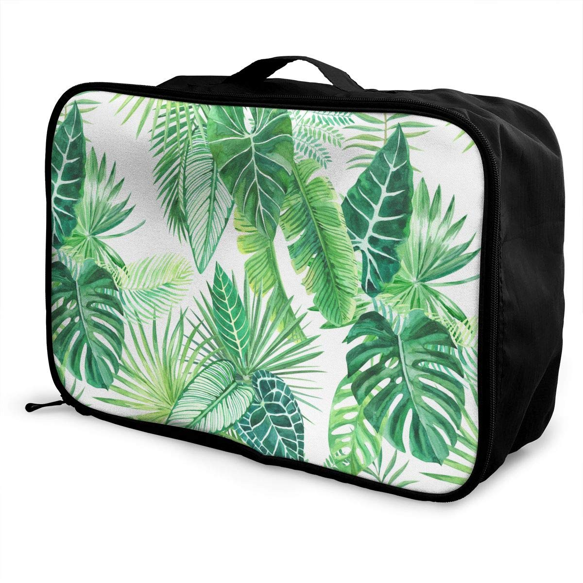 Travel Fashion Lightweight Large Capacity Duffel Portable Waterproof Foldable Storage Carry Luggage Tote Bag Watercolor Palm Leaf