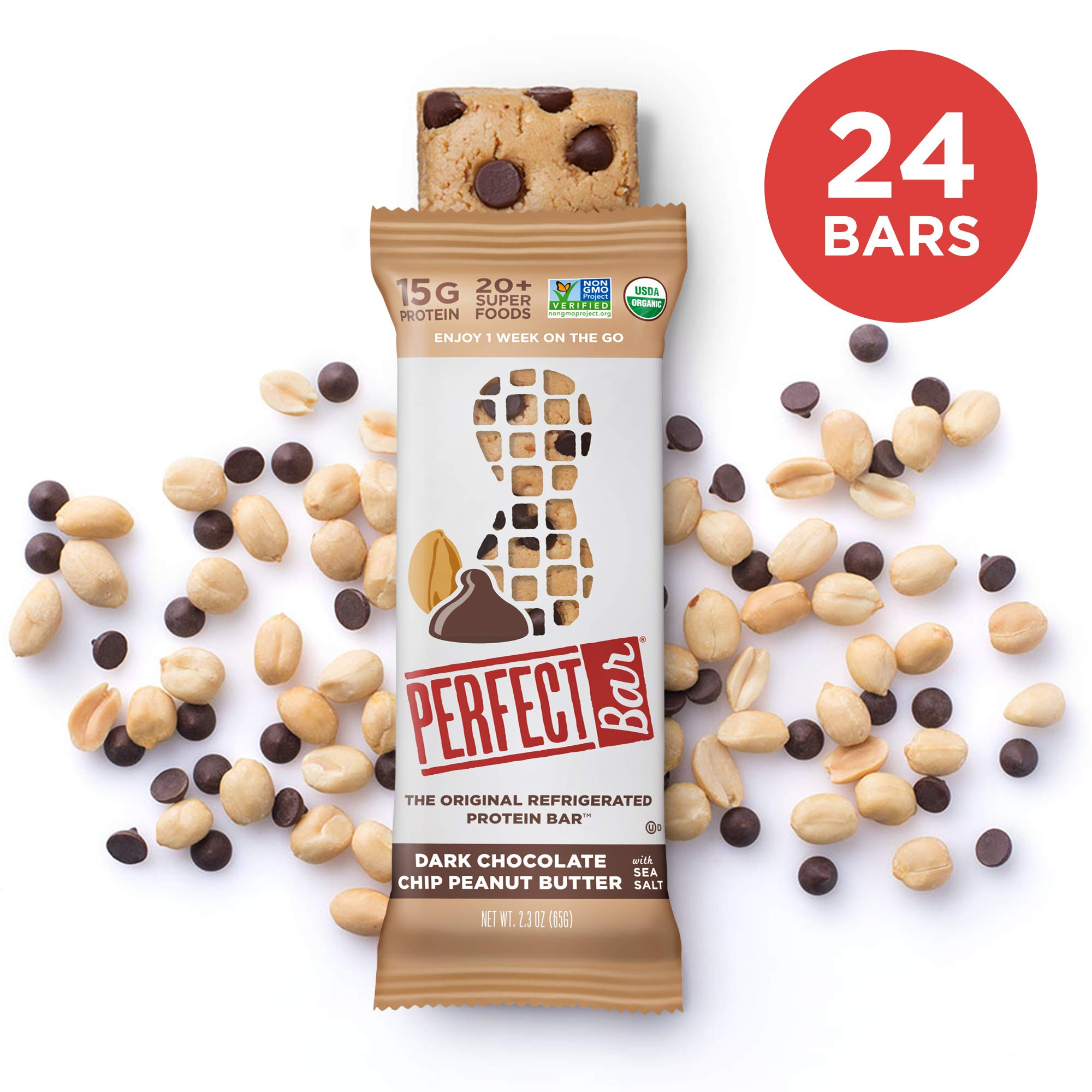 Perfect Bar Original Refrigerated Protein Bar, Dark Chocolate Chip Peanut Butter, 15g Whole Food Protein, Gluten Free, Organic and Non-GMO, 2.3 Oz. Bar (24 Bars)