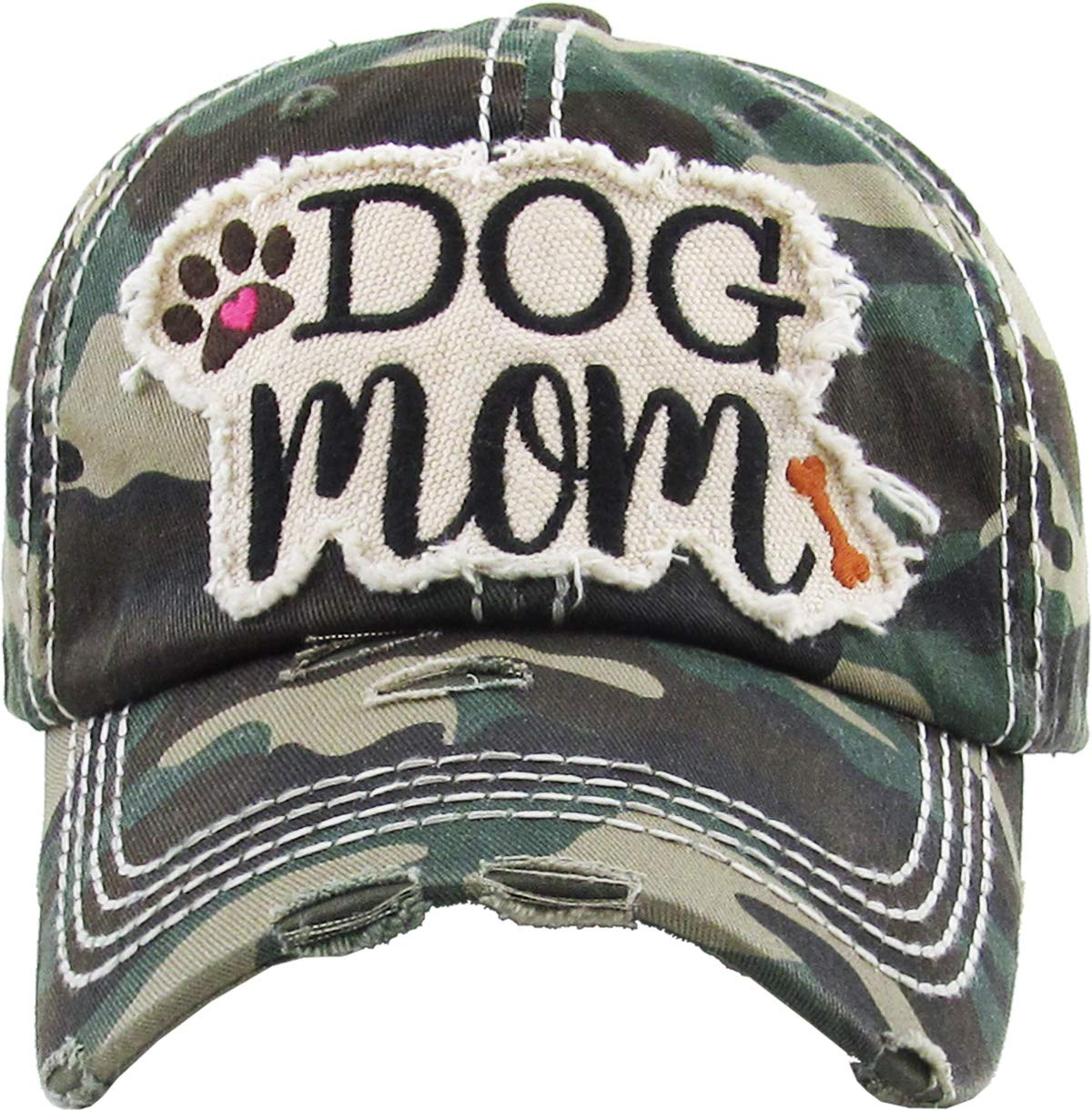 The Original Southern Western Womens Hats Collection Vintage Distressed Dad HAt (Adjustable, Dog Mom - Camo)