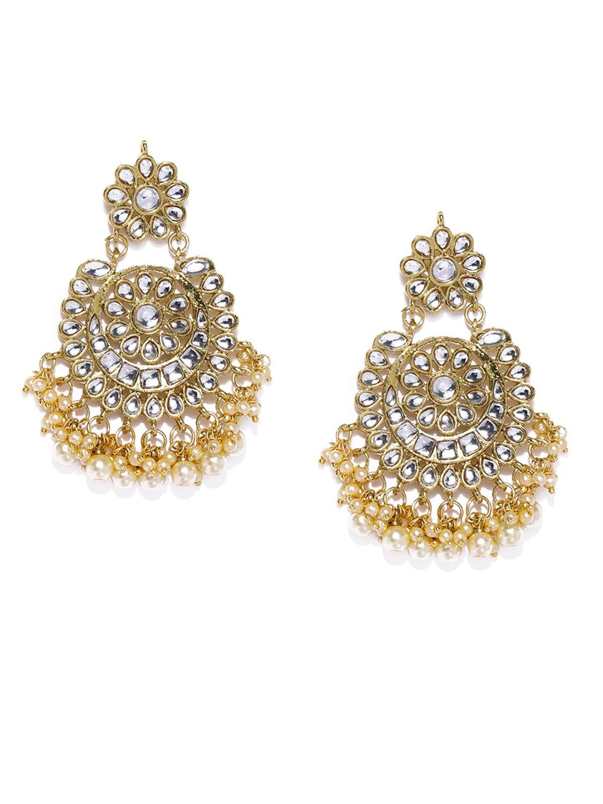 Zaveri Pearls Gold Tone Kundan & Pearls Dangle Earring For Women-ZPFK8662 (B07Q539B7N) Amazon Price History, Amazon Price Tracker