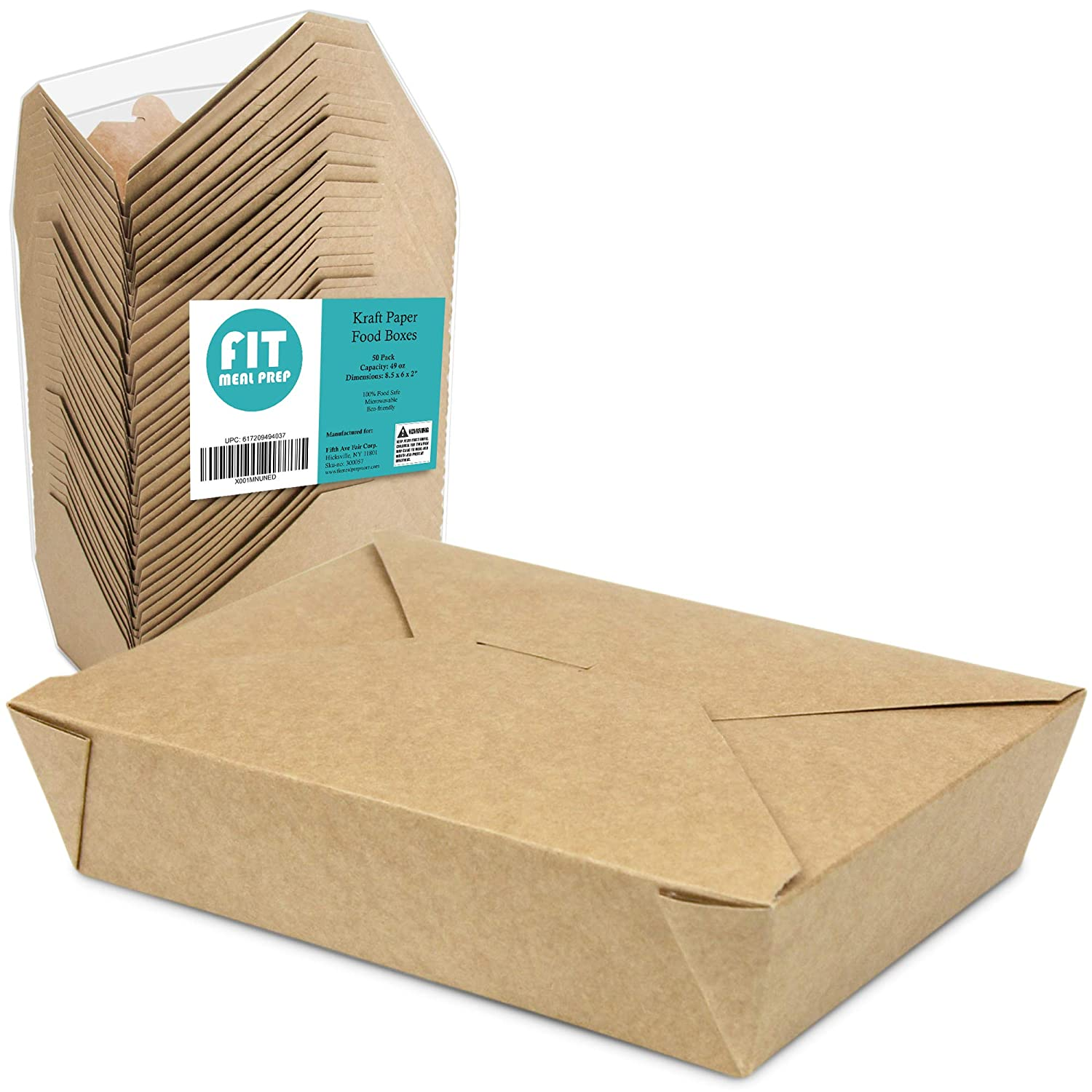 """[50 Pack] 49 oz 8.5 x 6 x 2"""" Disposable Paper Take Out Food Containers, Microwaveble Folding Natural Kraft to Go Boxes #2"""