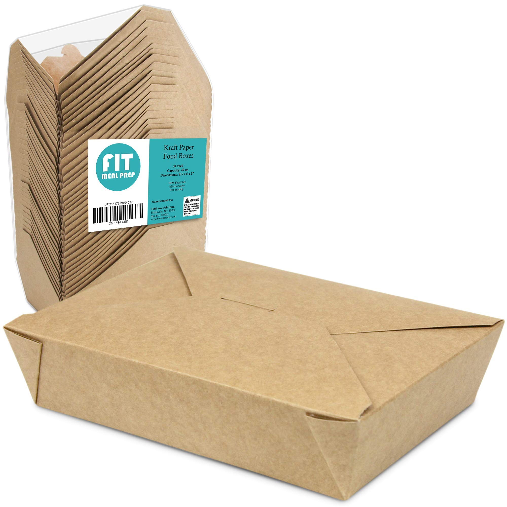 49 OZ 8.5 x 6 x 2 Disposable Paper Take Out Food Containers, Microwaveble Folding Natural Kraft To Go Boxes #2 [50 Pack] by Fit Meal Prep