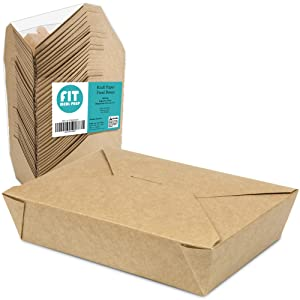 "[50 Pack] 49 oz 8.5 x 6 x 2"" Disposable Paper Take Out Food Containers, Microwaveble Folding Natural Kraft to Go Boxes #2"