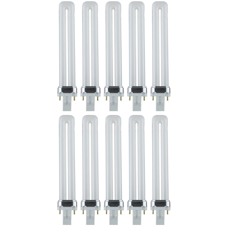 Sunlite PL13/SP50K/10PK 2-Pin Fluorescent 13W 5000K Super White U Shaped PL CFL Twin Tube Plugin Light Bulbs with GX23 Base (10 Pack)
