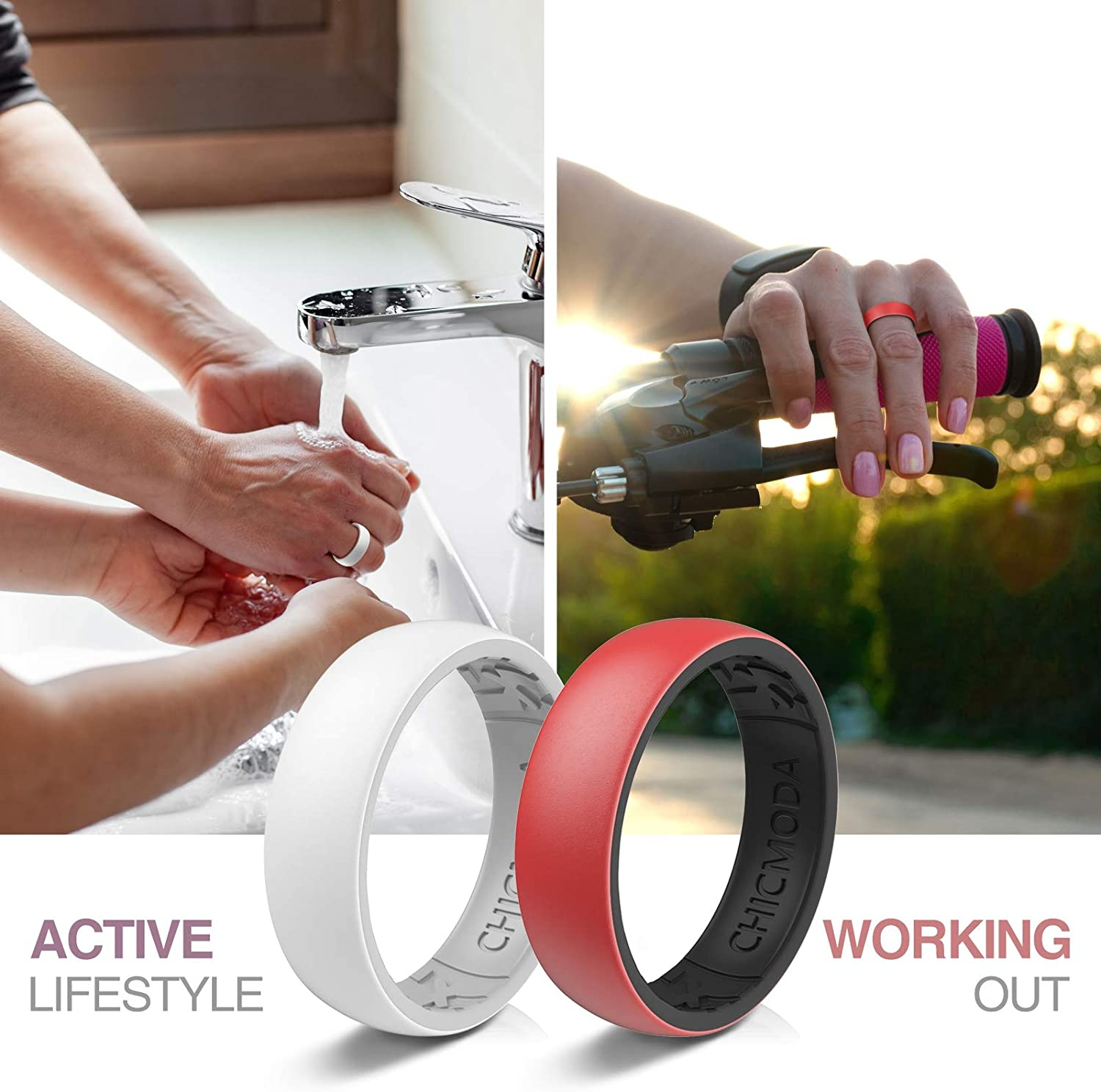 CHICMODA Silicone Rings Women Mens,Mens Women Silicone Wedding Rings,8 Colorful Rings,Breathable Design,Fashion,Lightweight,Durable,Comfortable,Safe for Fitness Workout,6.8mm Wide2.0mm Thick,Size 5-12