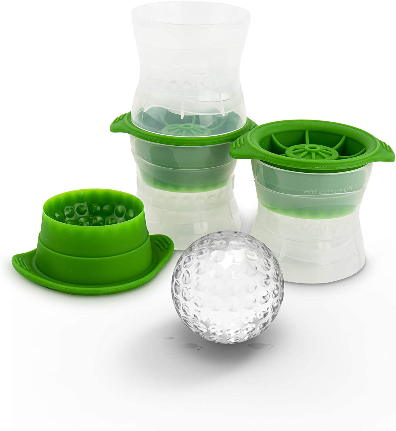 Tovolo Set of 3 Leak-Free, Slow-Melting Whisky & Spirits, Golf Ball Ice Novelty Drink Molds, Green, Sphere