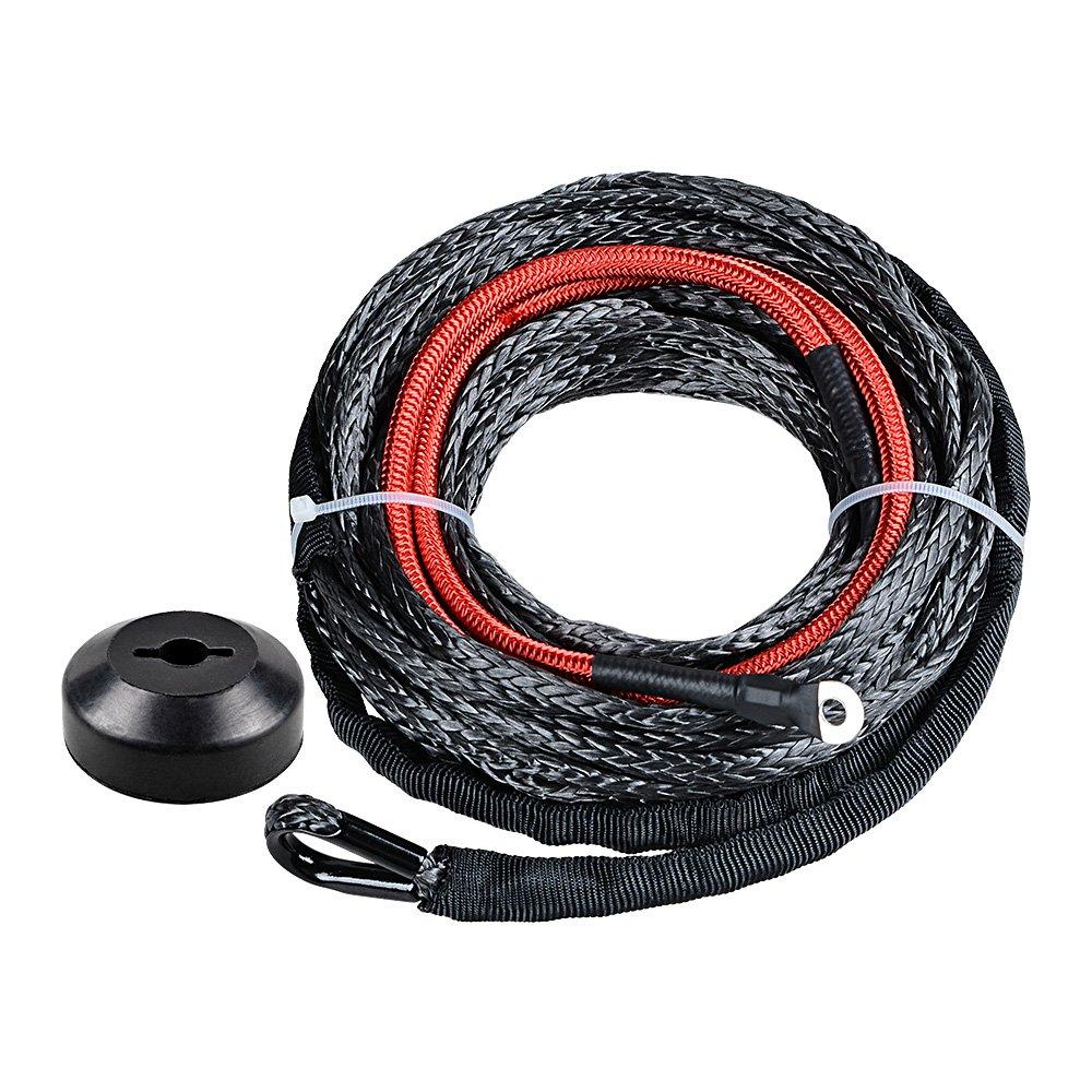 Black Synthetic Winch Line Cable Rope Heat Guard + Rubber Stopper Kit for Jeep SUV ATV UTV KFI (22' Heat Guard 50' x 3/16') Synthetic Winch Rope w/ 40 Heat Guard T&HI-B077QBKCXZ