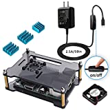 Miuzei Black Case for Raspberry Pi 3 with Fan 3xHeatsinks 2.5A Power Supply for Raspberry Pi 3 B+, Pi 3 Model B, Pi 2 Model B, B+
