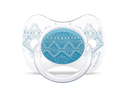Suavinex - Chupete Premium Haute Couture Tetina Fisiológica Silicona. Chupete 0-4 Meses. 0% BPA, Diseño Étnico Color Azul