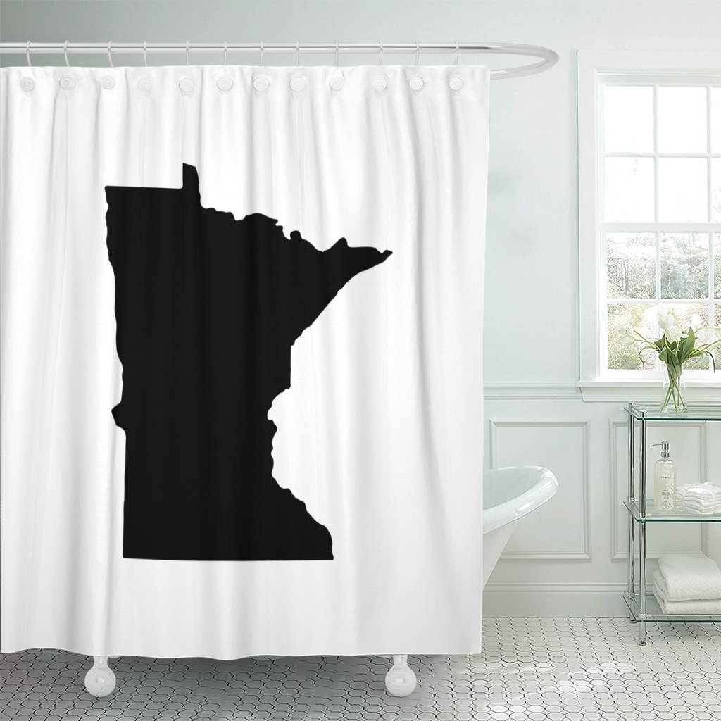 Emvency Shower Curtain Abstract Map of The U State Minnesota on America Waterproof Polyester Fabric 60 x 72 inches Set with Hooks