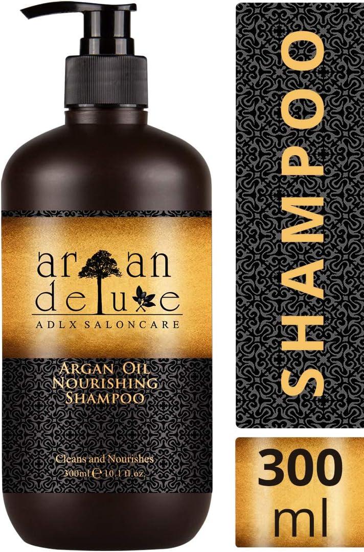Champú Argan Deluxe 300 ml. - Con Aceite de Argán altamente hidratante, para un cuidado diario del cabello aportando suavidad y brillo.
