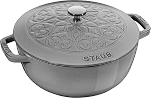 Staub Cast Iron 3.75-qt Essential French Oven with Lilly Lid - Graphite Grey