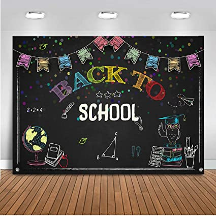 New Back to School Themed Backdrop for Photography 7x5 Vinyl Photo Background Colorful Pencils with School Bag Kids Back to School Backgrounds for Party Wall Decor