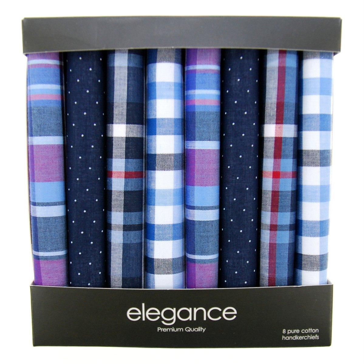 Retreez 8 Piece Pure Cotton Assorted Men's Handkerchiefs Hanky Gift Box Set - Assorted Set A5A004