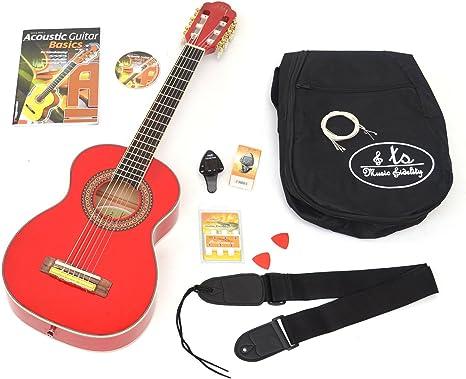 Niños Starter Set: 1/4 Guitarra acústica infantil en rojo para 4 ...