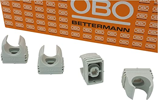 50x OBO Bettermann M16 Quick-Schellen   Klemmschelle   Rohrschelle   anreihbar   lichtgrau   16mm   50 Stück