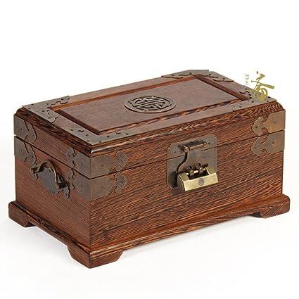 Caja de joyas antiguas de caoba con bloqueo/ pollo ala estilo chino almacenamiento caja de