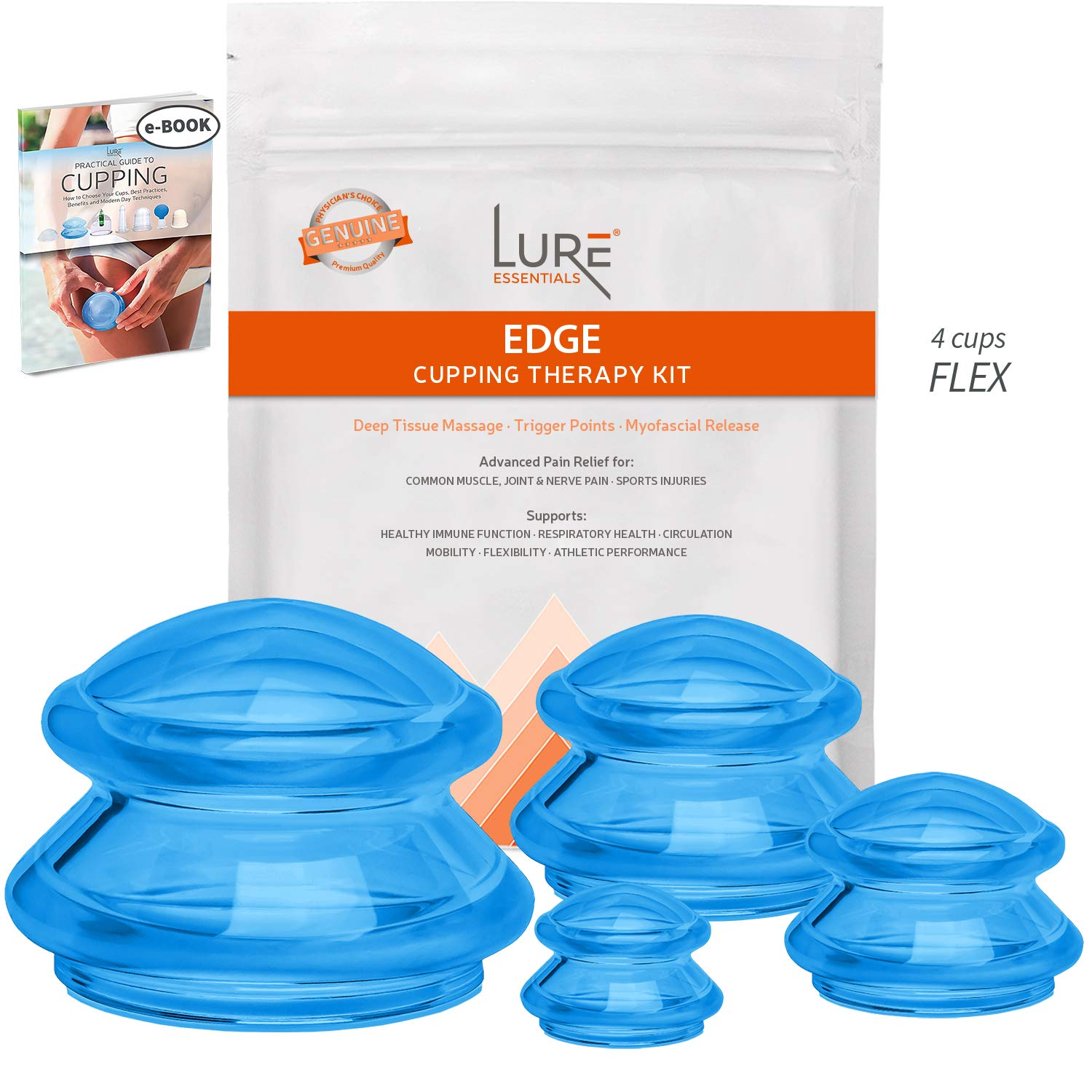 Advanced Cupping Therapy Sets - Edge Flex Silicone Vacuum Suction Cupping Cups for Muscle and Joint Pain Cellulite & More (Brilliant Blue, 4) by Lure Essentials