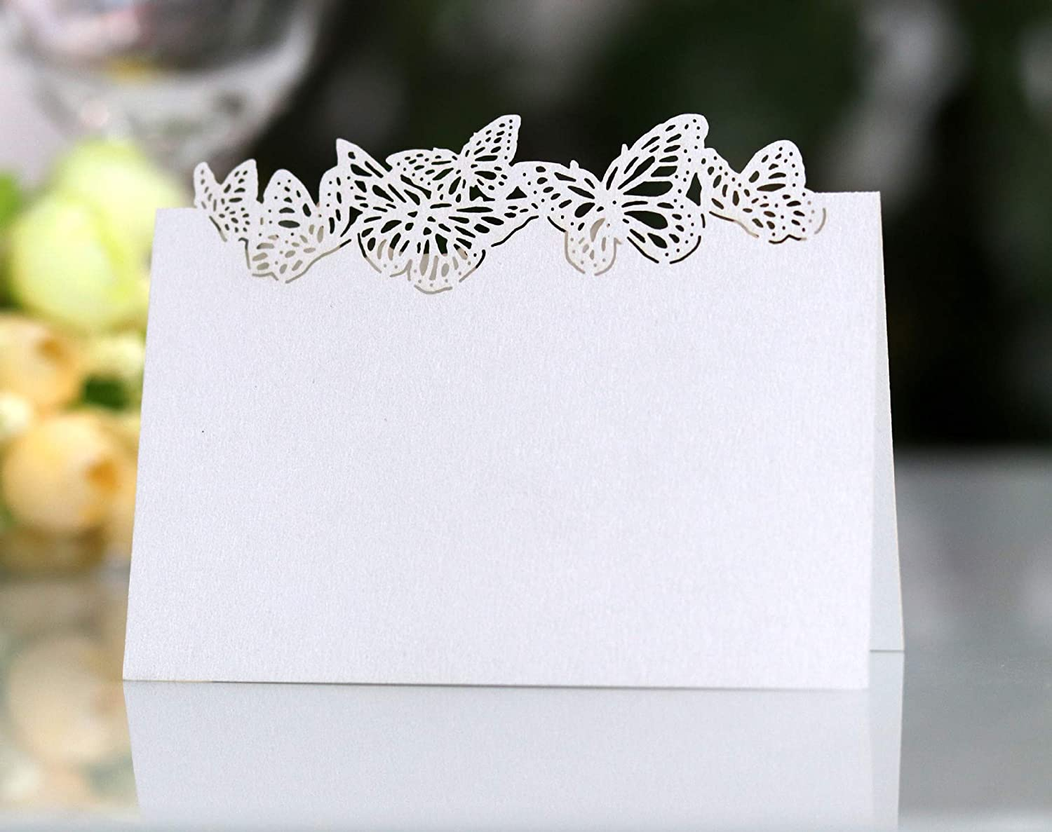 50-Laser cut Butterflies Name Place Cards,Table Cards,Wedding Sweets Favours