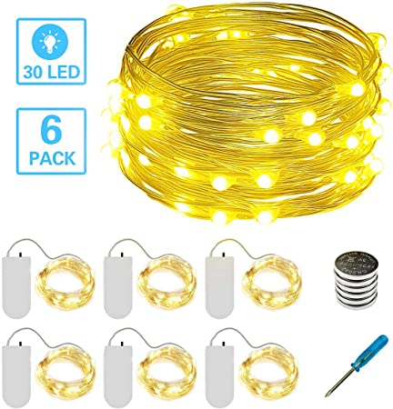 6x Waterproof 20 LEDs String Copper Wire Fairy Lights Battery Powered Cool White