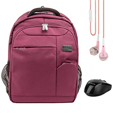 """Vangoddy Germini 15.6 Inch Laptop Backpack Casual Daypack Bookbag For Dell Inspiron 14 15 / Latitude 15 / Precision 15 / Precision Mobile Workstation / XPS 15 15.6"""" (Purple) + Earbud + Wireless Mouse"""