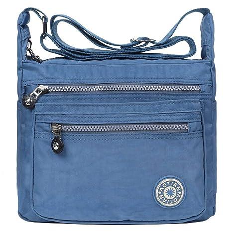 EGOGO donne borse a spalla borsa a tracolla muliti tasche borsetta E303-5  (Blu c661c5f5a71