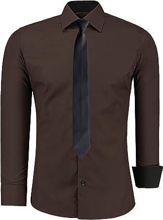 Jeel - Camisa Informal de Vestir para Hombre, Manga Larga, para Negocios, Bodas, Ajustada, Tallas S-6XL + Corbata Negra Marrón marrón XXXXXXL: Amazon.es: Ropa y accesorios