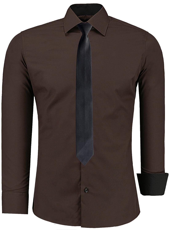 JEEL Uomo Formale Abito Casual Camicia a Maniche Lunghe Business Wedding Slim Fit Oversize s-6 x L + Black Tie