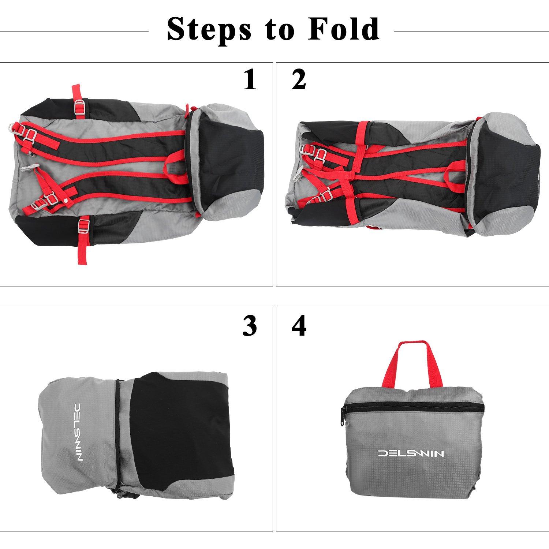 DELSWIN Waterproof Hiking Trekking Backpack 35L Lightweight Outdoor Folding Travel Daypack for Women Men
